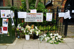 The Grenfell Tower Block Fire Disaster. Floral tributes and messages for the victims of the Grenfell Tower fire disaster, London, UK, which left hundreds stock photography
