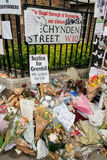 The Grenfell Tower Block Fire Disaster. Floral tributes and messages for the victims of the Grenfell Tower fire disaster, London, UK, which left hundreds royalty free stock photo