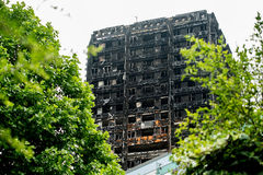 The Grenfell Tower Fire. Disaster, London, UK. Aftermath of the fire which swept through the building, leaving hundreds homeless and many dead Stock Photo