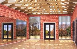 Grenier grand hall intérieur avec le miroir, illustration stock