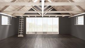 Grenier minimaliste de mezzanine, l'espace industriel vide, roofin en bois photos stock
