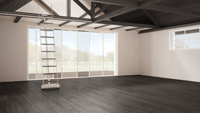 Grenier minimaliste de mezzanine, l'espace industriel vide, roofin en bois photo libre de droits