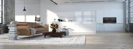 Grenier moderne avec une cuisine rendu 3d Images stock