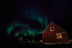 Grenlandzcy Północni światła nad Nuuk miastem Fotografia Royalty Free