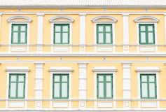 Grenn and Yellow Windows Pattern and wallpaper. Grenn and Yellow Vintage Windows Pattern and wallpaper has architecture in Bangkok Thailand Royalty Free Stock Photos