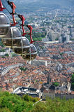 Grenoble. France. Cable car going down from Bastille Stock Images