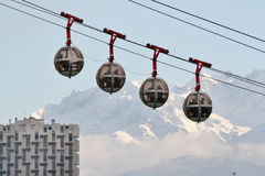 Grenoble. The cable cars in grenoble known as les oeufs ( the eggs stock photography