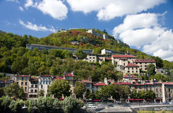 Grenoble bastille. Famous landmark in Grenoble, France - la bastille hill with old town houses stock photography