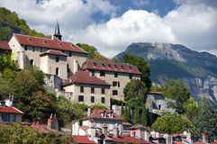 Grenoble bastille. Famous landmark in Grenoble, France - la bastille hill with old town houses Royalty Free Stock Photography