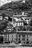 Grenoble bastille. Famous landmark in Grenoble, France - la bastille hill with old town houses. Monochrome image Royalty Free Stock Photos