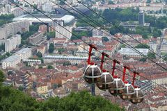 Grenoble Bastille cable car and the football stadium, France stock photography