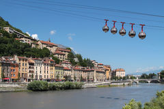 Grenoble-Bastille cable car. GRENOBLE, FRANCE, JULY 16, 2014 : The Grenoble-Bastille cable car is affectionately known as Les bulles (English: the bubbles). The Stock Images