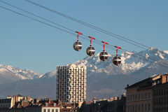 The Grenoble-Bastille cable car over the city Stock Photos
