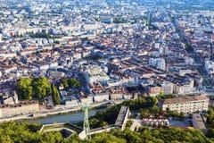 Grenoble-Bastille kabelbil Arkivbild