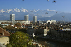 Grenoble an the Belledone range. France. Aspect of the city of Grenoble with flying pigeons and the Belledonne range in Autumn royalty free stock photo