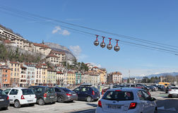 Grenoble cable car funicular road Stock Image