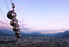 Grenoble cablecars w wieczór Obraz Royalty Free