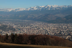 Grenoble city and Belledonne range Royalty Free Stock Image