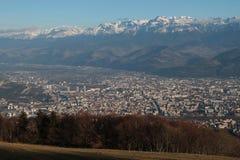 Grenoble city and Belledonne range Royalty Free Stock Image