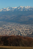 Grenoble city and Belledonne range Royalty Free Stock Photo