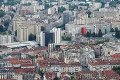 Grenoble city, seen from Bastilla mountain, France royalty free stock images