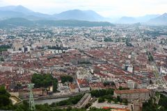 View from Bastilla mountain upon Grenoble city and french Hautes Alpes stock photo
