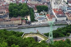 Grenoble Bastille cable car and Isere river, France stock photography