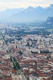 View from Bastilla upon Grenoble and french Hautes Alpes royalty free stock image