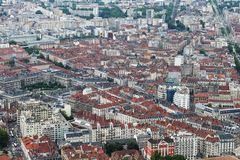 View from Bastilla mountain upon french city Grenoble royalty free stock photo