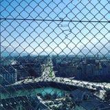 Grenoble through fence Royalty Free Stock Photo