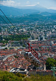 Grenoble. France. Cable car going down from Bastille Royalty Free Stock Images