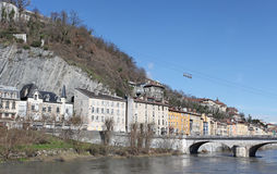 Grenoble, France. Isere River and Bastille Stock Photo