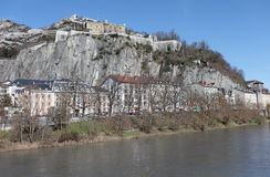 Grenoble, France. Isere River and Bastille Royalty Free Stock Images