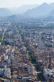 Grenoble, France - 4. Grenoble in the south of France is at the foothills of the Alps. This shot is taken from the top of the cable car ride at Chemin de la stock photo