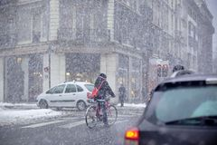 Grenoble, France at Winter Snowstorm Royalty Free Stock Photography