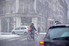 Grenoble, Frankreich am Winter-Schneesturm Lizenzfreie Stockfotografie