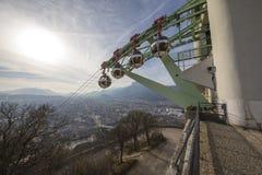 Grenoble, Frankrijk, Januari 2019: Kabelwagenpost bij La Bastille stock afbeelding