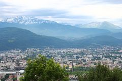Grenoble and the French Alpes, seen from the Bastilla mountain royalty free stock image