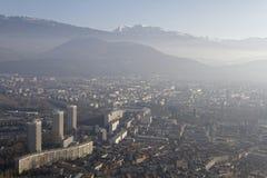 Grenoble i smogen Royaltyfria Bilder