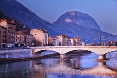 Grenoble in Isere, France. Grenoble with the Alps mountains in Isere, France Stock Photo