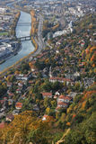 Grenoble and Isere river from the sky Stock Images