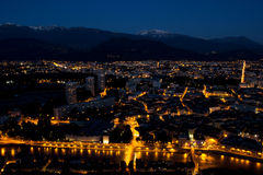 Grenoble by night Royalty Free Stock Images