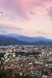 Grenoble på solnedgången Arkivbilder