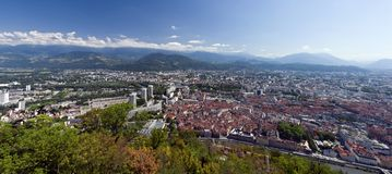 Grenoble panorama. Panoramic aerial view of French city of Grenoble, as seen from la Bastille Royalty Free Stock Images