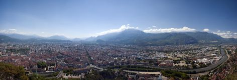 Grenoble panorama. Panoramic aerial view of French city of Grenoble, as seen from la Bastille Royalty Free Stock Image