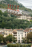 Grenoble's cable car. Cable cars to Grenoble's fortress - la Bastille Stock Photo