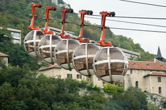 Grenoble's cable car. Cable cars to Grenoble's fortress - la Bastille Stock Photography