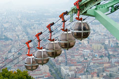 Grenoble's cable car. Cable cars to Grenoble's fortress - la Bastille Royalty Free Stock Images