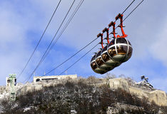 Grenoble's iconic cable cars stock image