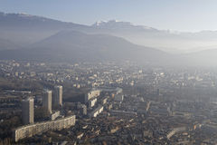 Grenoble in the smog Royalty Free Stock Images
